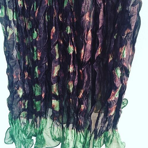 Olive-Brown Rassi Silk Shiboori Scarf