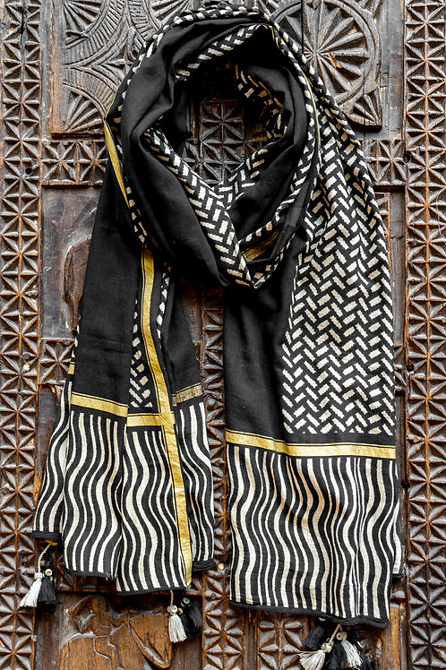 Black Stripes & Blocks Scarf