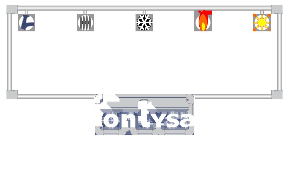 Símbolos descriptivos de servicios fontysa, fontanería, calefacción, aire acondicionado, gas y energía solar