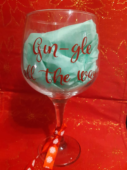 Personalised Festive Gin Glass