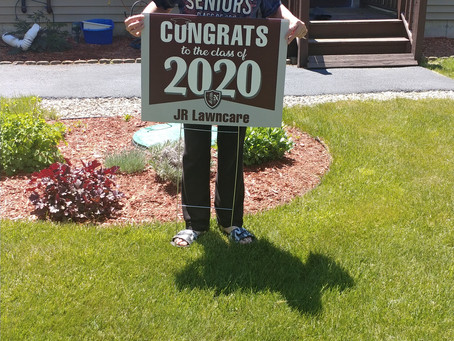 """Mrs. Texeira delivers signs to Class of 2020!"""