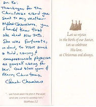 christmas thank you note Chuck Chambers.