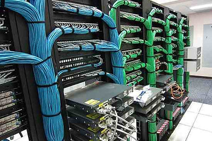 Data centre rear of patch panels
