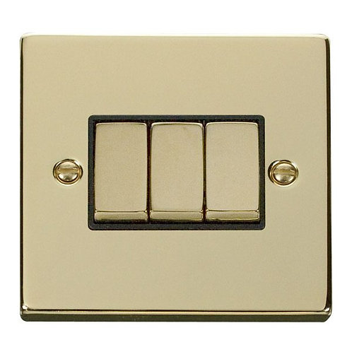 Click Deco VPBR413 3 Gang 2 Way 'Ingot' 10AX Switch