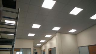 Office LED Lighting Upgrade in Progress