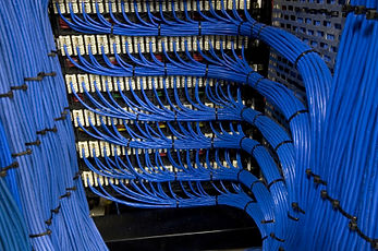 Structured cabling terminated into patch panels