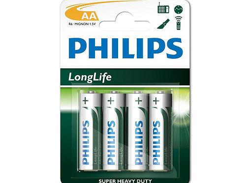 AA Philips Long Life Batteries R6 (x4)