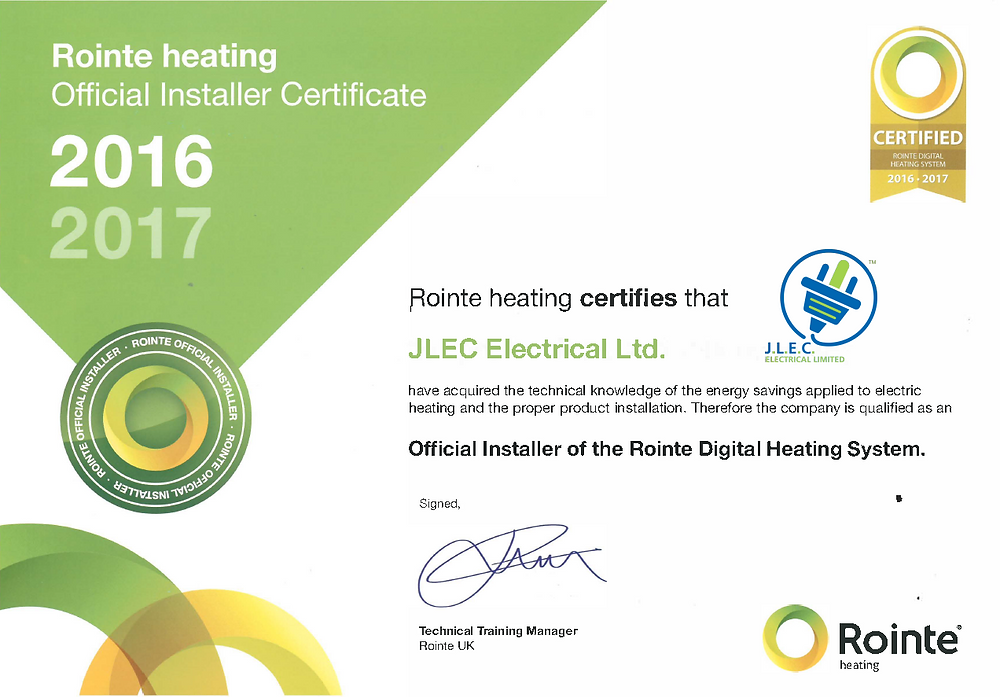 Rointe Official Installers Certificate