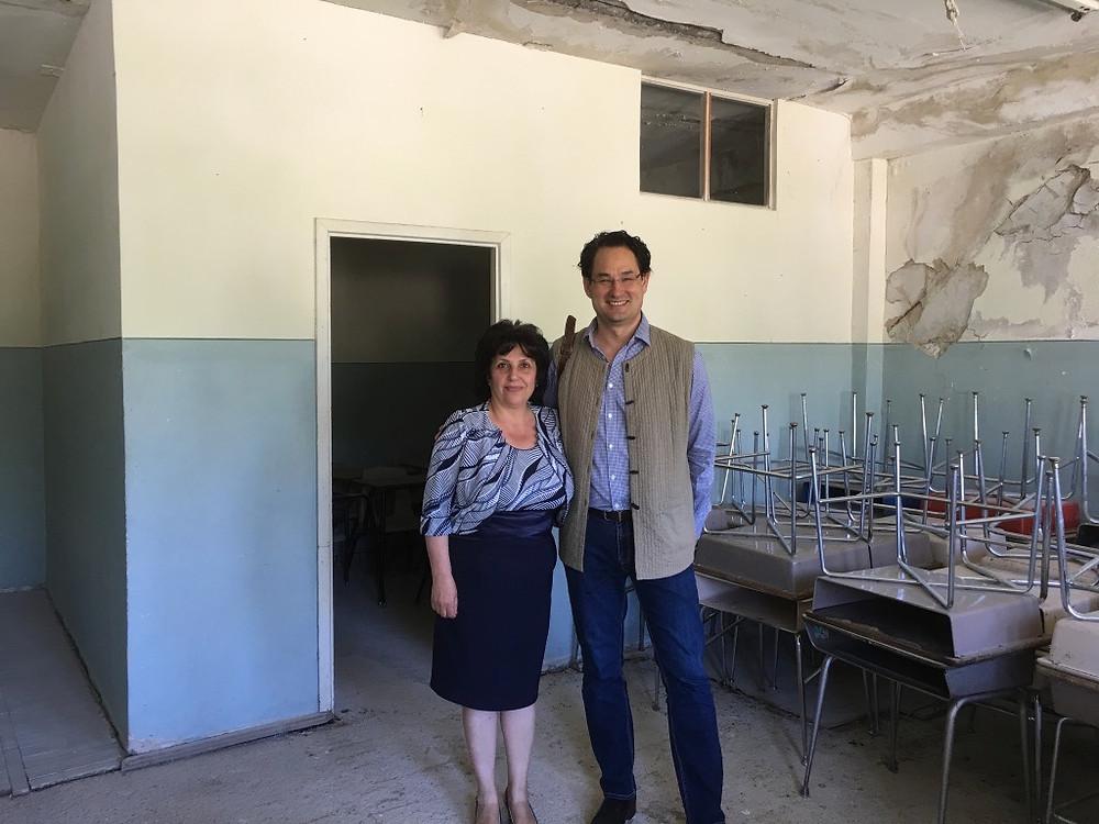 With the school principal, Vanadzur school