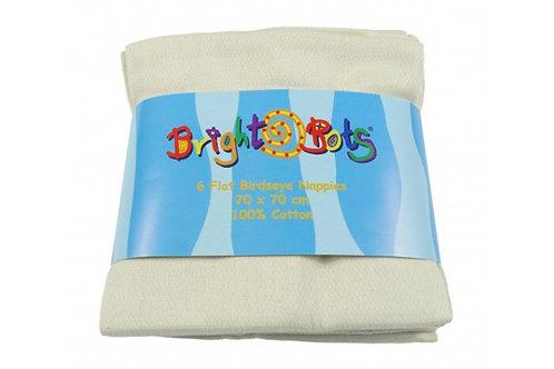 BrightBots 100% Cotton Birdseye Flat Nappies - 6 pack