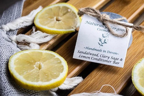 Sandalwood, clary sage and lemon with activated charcoal solid conditioner bar
