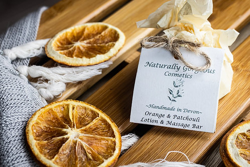 Sweet orange and patchouli natural massage and lotion bar