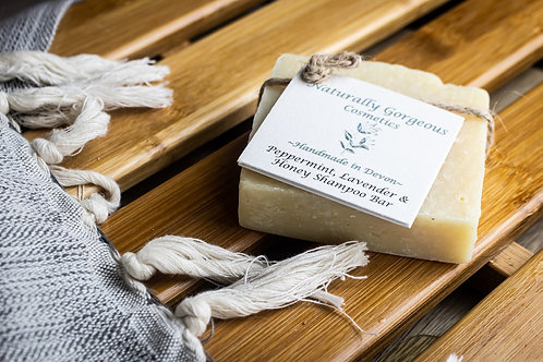 Peppermint, lavender and honey solid shampoo bar