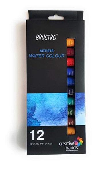 BRUSTRO Artists' Watercolor Set of 12 Colors X 12ML Tubes