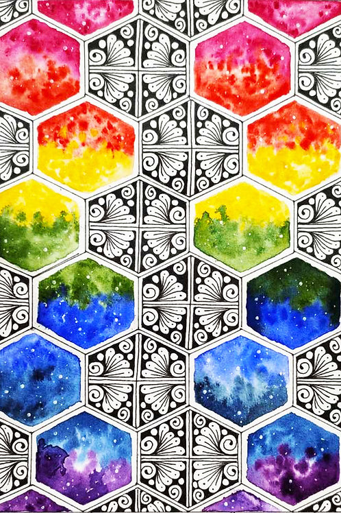 Rainbow Honeycomb Mandala