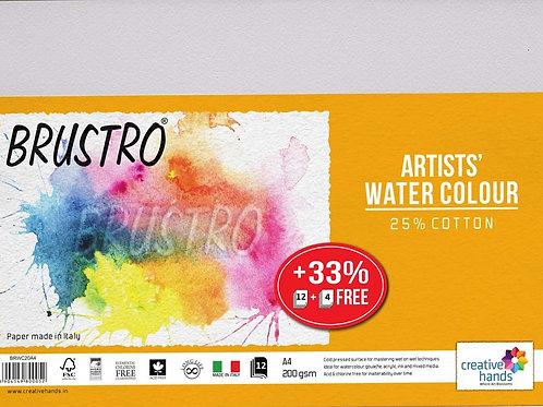 Brustro Artists Watercolour Paper, A4 Size, 200 GSM, 25% Cotton(12+4sheets)
