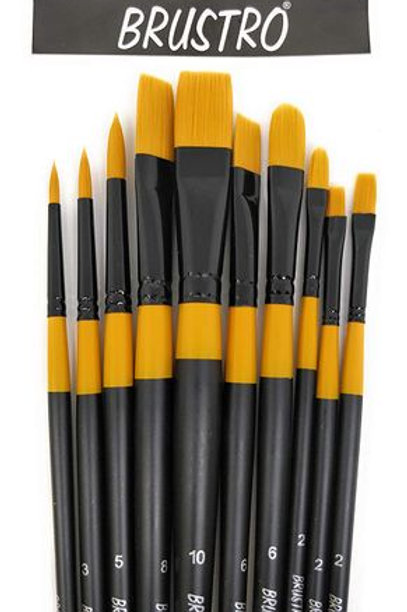 Brustro Artists Gold TAKLON Set of 10 Brushes for Acrylics, Oil and Watercolor