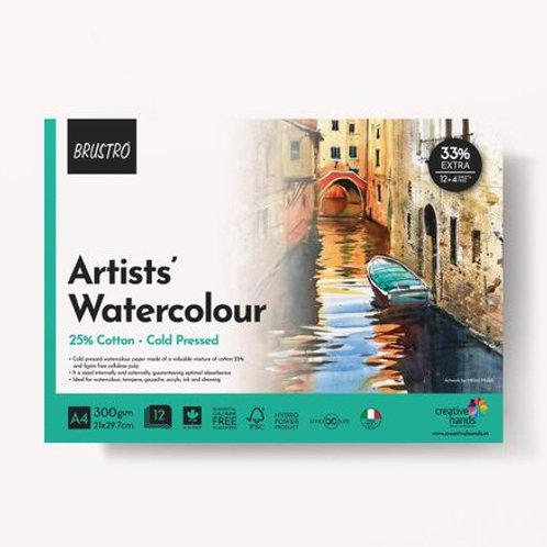 BRUSTRO Artist Watercolor Pad Cold Pressed 300 GSM 25% Cotton A4 - (12 + 4 Free