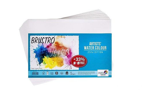 Brustro Artists' Watercolour Paper 300 GSM A4-25% Cotton, Cold Pressed, Contains