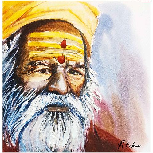 Watercolor Sadhu Painting