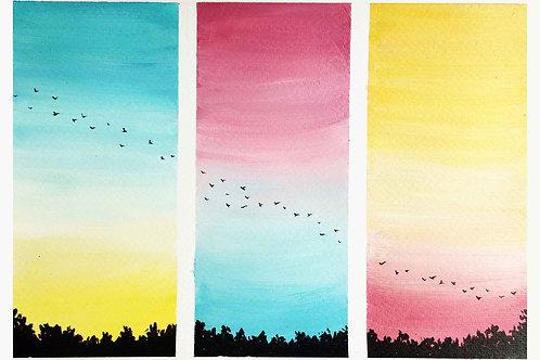 Acrylic Birds Trails