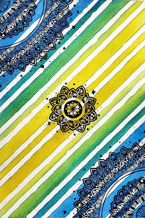 Watercolor Stripe Mandala