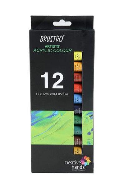 BRUSTRO Artists' Acrylic Colour Set of 12 Colours X 12ML Tubes