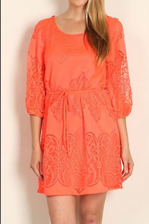 Neon Coral Lace Shift Dress