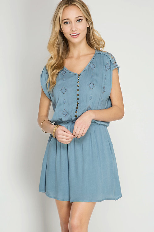Vintage Blue Sleeveless Dress