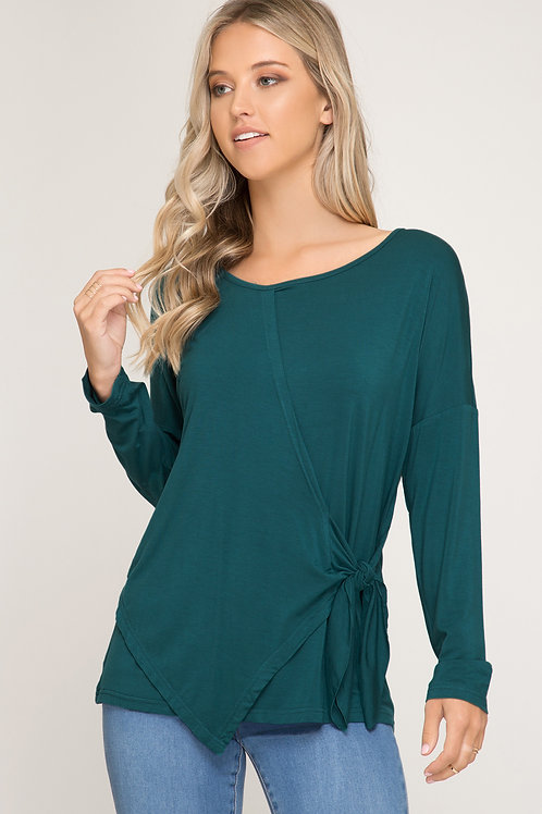 Long Sleeve Top with Tie Detail