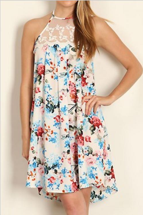 Lace Trimed Floral Dress