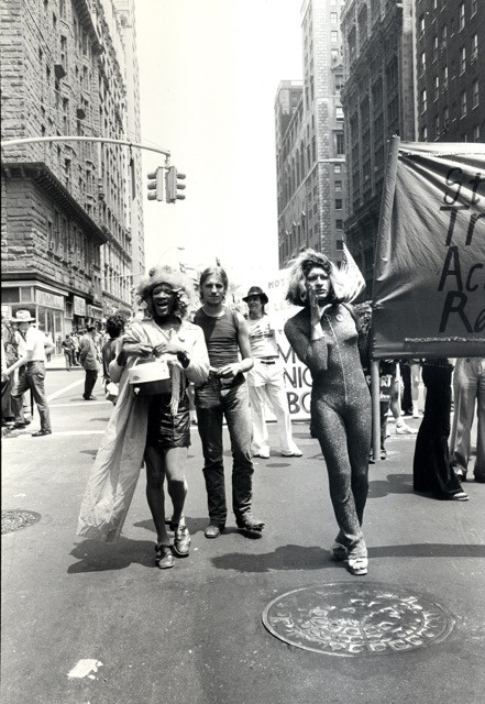 Rivera and Marsha P. Johnson representing S.T.A.R. at the Christopher Street Liberation Day Gay Pride Parade in 1973. (Image Source: LGBT Community Center National History Archive/Leonard Fink)