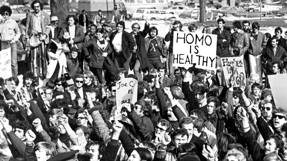 Protest of the classification of homosexuality as a mental illness by the APA. (Image Source: Cured/Patrick Sammon, Bennett Singer)