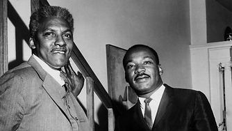 """Civil rights organizer Bayard Rustin, left, with Martin Luther King Jr. Rustin was arrested on a """"morals charge"""" in Pasadena in 1953.(Images: Courtesy of the estate of Bayard Rustin/Monroe Frederick)"""