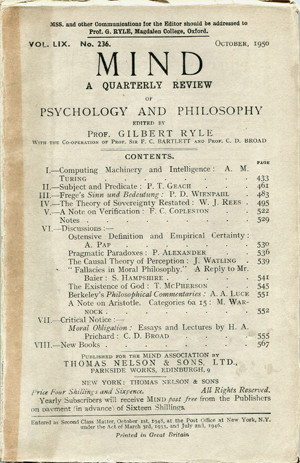 """The October 1950 issue of Mind, an academic journal published by Oxford University Press on behalf of the Mind Association. This issue contains Alan Turing's published paper of the idea of a """"Universal Machine."""" (Image Credit: Mind Association and Oxford University Press)"""