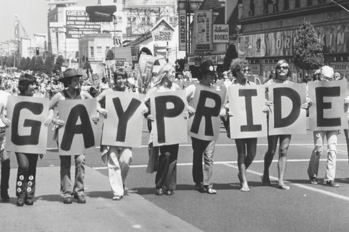 The Gay Pride parade on Hollywood Boulevard in 1975 (Image Source: The Bruce Torrence Hollywood Photograph Collection)