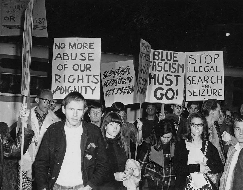 Protests outside the Black Cat bar, Feb. 11, 1967. (Image Source: ONE National Gay and Lesbian Archives at the USC Libraries)