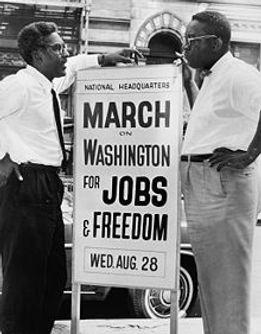 Bayard Rustin, deputy director, and Cleveland Robinson, chairman of Administrative Committee, March on Washington. (Image Source: World Telegram & Sun photo. Prints and Photographs Division/Orlando Fernandez)