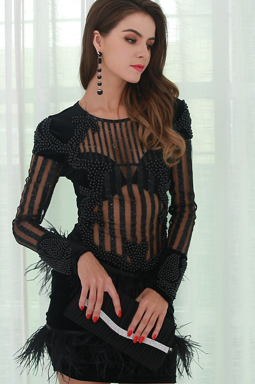 Black Beaded Tassel Dress