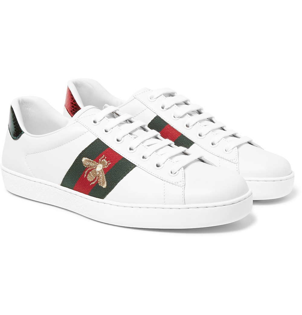 GUCCI EMBROIDERED WEBBING-TRIMMED LEATHER SNEAKERS (ALHAMRA LUXURY TOWER)