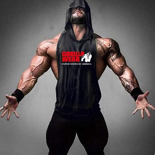 Gorilla Wear Stylish  Hooded t Men's  Bodybuilding Fitness Gym Vest Fitness Men
