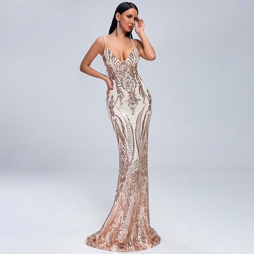 Jazmyn Gold Sequin Gown