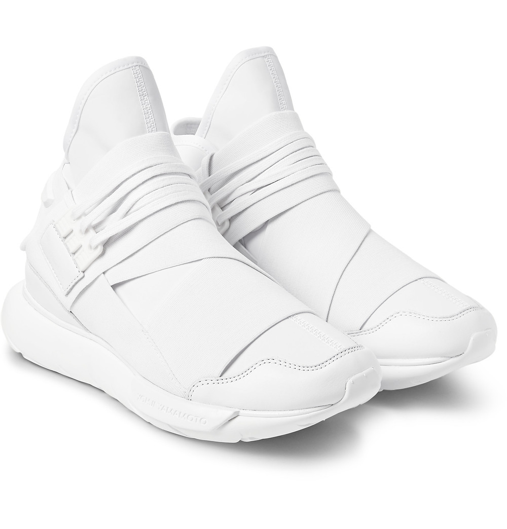 Y-3 QASA LEATHER-TRIMMED NEOPRENE HIGH-TOP SNEAKERS HARVEY NICHOLS KUWAIT