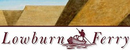 This image is the Lowburn Ferry logo. The words 'Lowburn Ferry' and Central Otago' appear on the logo with a man rowing a boat between 'Lowburn' and 'Ferry'.