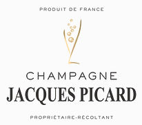 This image that appears on the Empire Liquor website is the Jacques Picard Champagne logo features a champagne glass with bubbles in it above the words, 'Champagne Jacques Picard'
