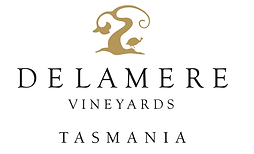 This is the Delamere Vineyards' logo that feature their name in text and their logo above it.