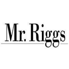 This is the logo for Mr. Riggs and it just features the words Mr. Riggs in black text.
