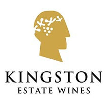 This is a picture of the Kingston Estate Wine logo. This logo is of a two dimensional gold head on side on view, the head is completely filled in with colour, except for a coral headpiece that is white around the head and six dots above the heads ear in a