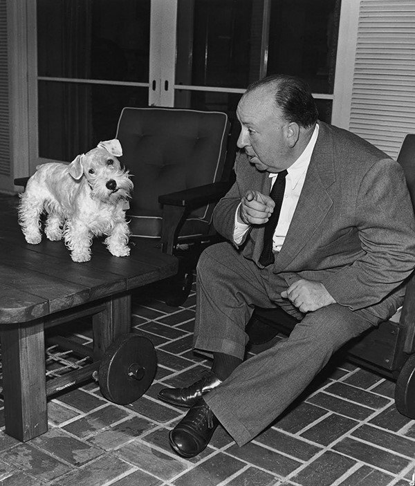 Alfred Hitchcock with Sealyham Terrier