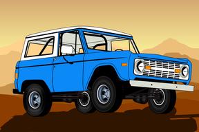 Blue Ford Bronco